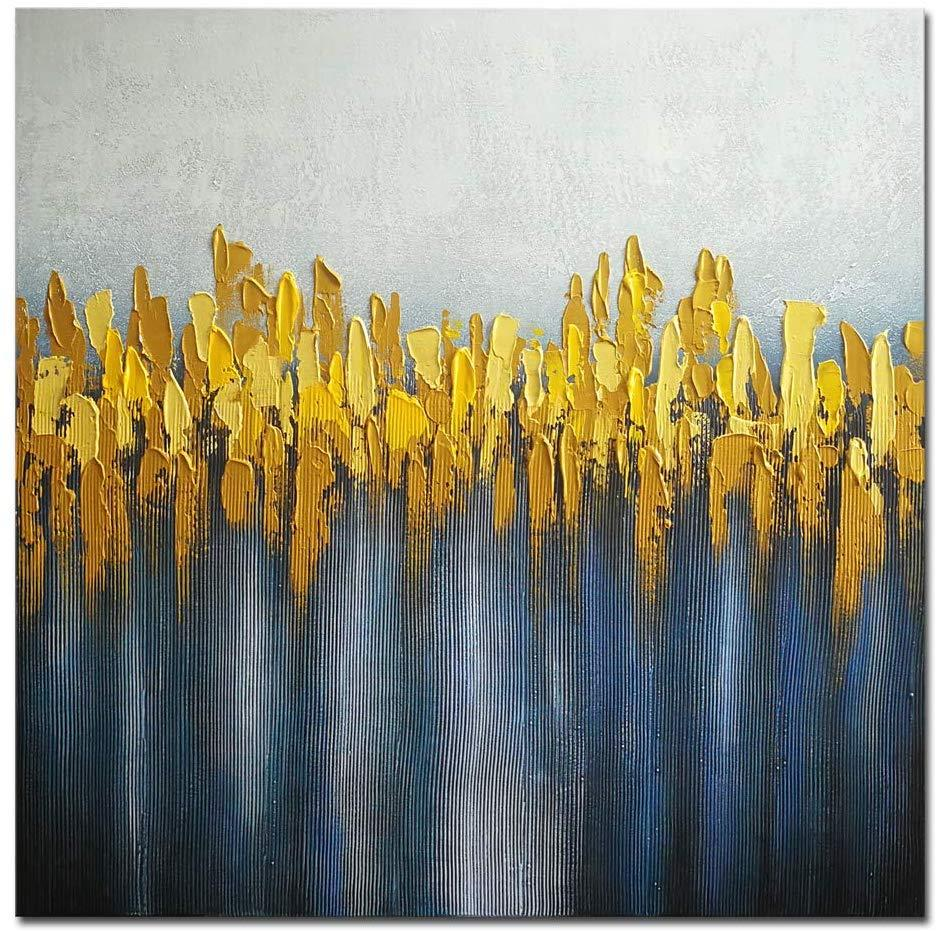 Default Title Large Abstract Grey Gold Ochre Yellow Blue Grey Oil Canvas Painting Framed 60x60cm - Pebble & Leaf HomeArt