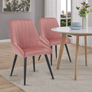 Lady Penelope Velvet Blossom Blush Pink Dining Chair Dark Wood Leg - Pebble & Leaf Home
