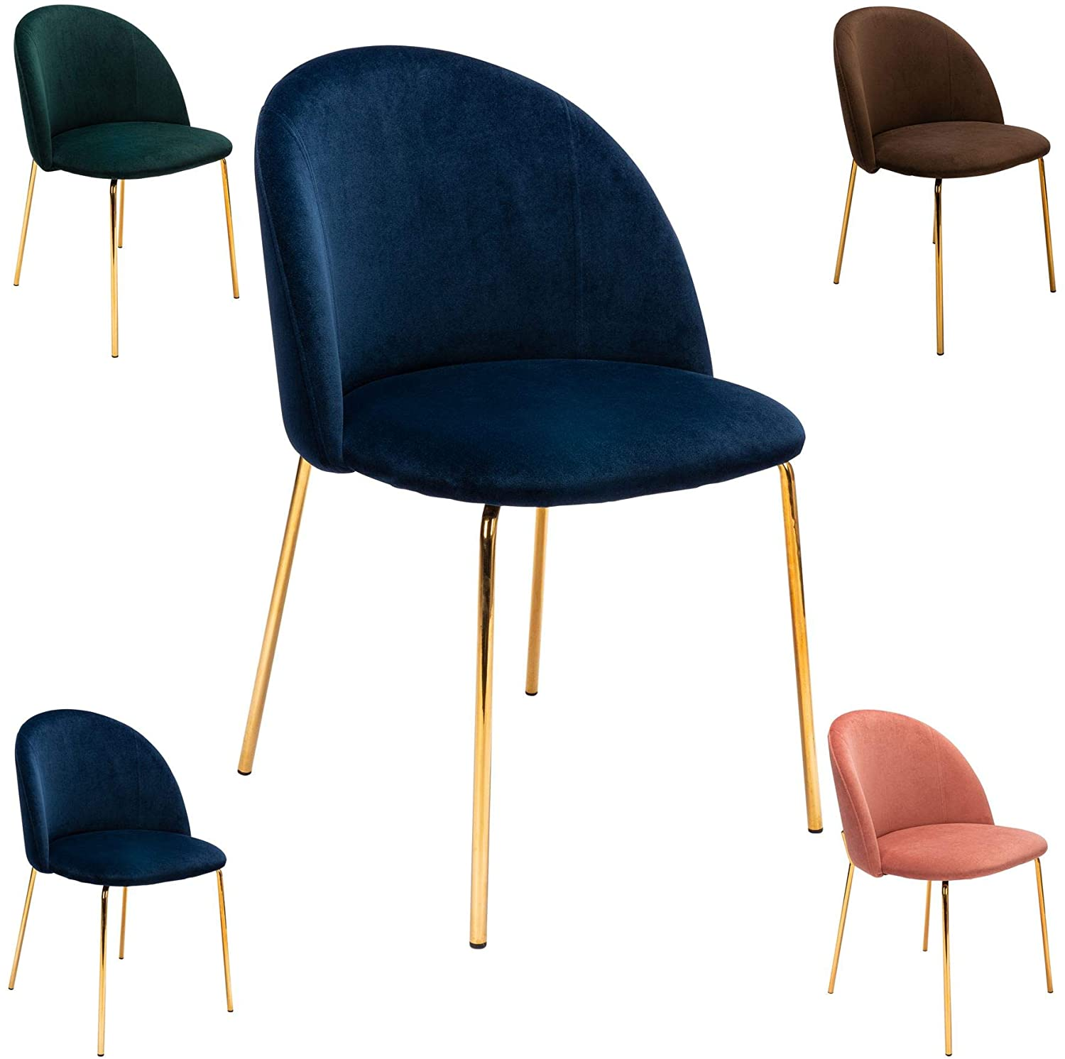 Luxe Curve Velvet Dining Desk Chair Classic Blue Brown Pink with Gold Metal Leg