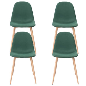 Default Title Green Velvet Luxe Revival Gold Wooden Legs Modern Art Deco Dining Chairs 4pc - Pebble & Leaf Home