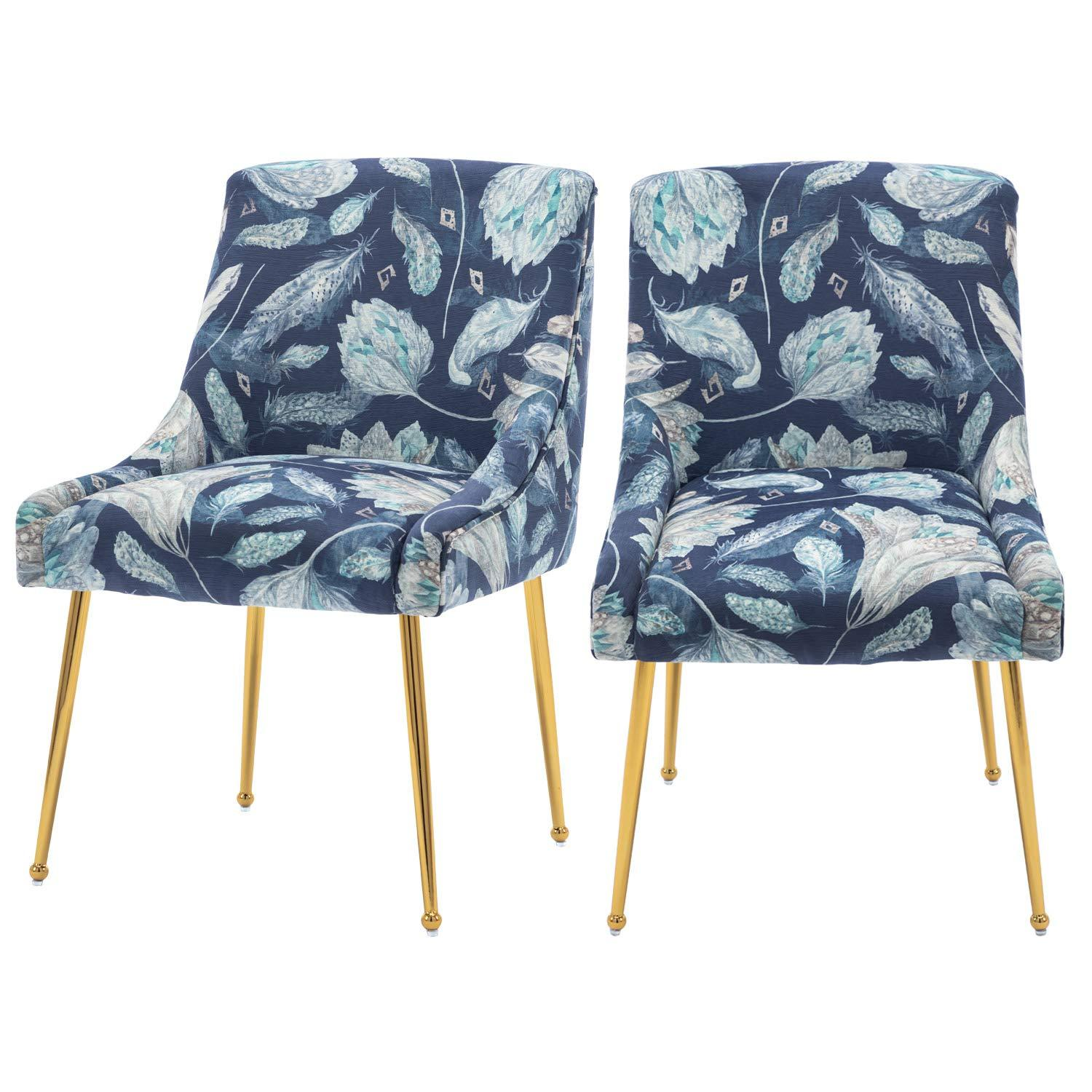 Luxe Regal Velvet Dining Arm Chairs Gold Metal Legs Black Blue Grey Patterned
