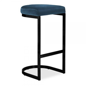 Luxe Curve Cantilever Velvet Under Counter Bar Stool Copper - Chrome - Brass - Black Leg 75cm Multiple Colours