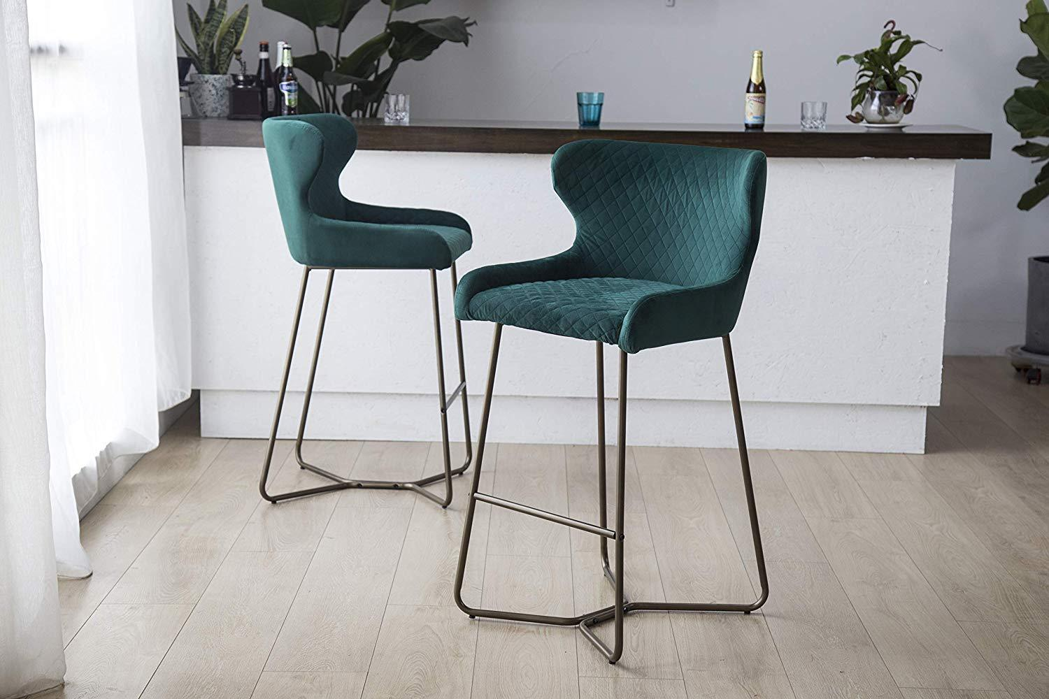 Emerald Green Luxe Azuki Luxury Velvet Diamond Bar Chair Stool Brass Bronze Leg 65 cm - Pebble & Leaf Homefurniture