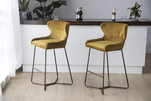 Mustard Ochre Yellow Luxe Azuki Luxury Velvet Diamond Bar Chair Stool Brass Bronze Leg 65 cm - Pebble & Leaf Homefurniture