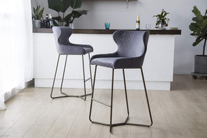 Grey Luxe Azuki Luxury Velvet Diamond Bar Chair Stool Brass Bronze Leg 65 cm - Pebble & Leaf Homefurniture