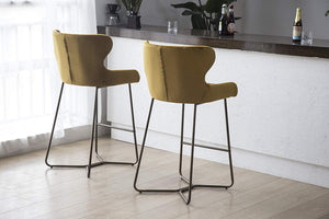Luxe Azuki Luxury Velvet Diamond Bar Chair Stool Brass Bronze Leg 65 cm - Pebble & Leaf Homefurniture