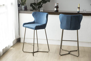 Denim Blue Luxe Azuki Luxury Velvet Diamond Bar Chair Stool Brass Bronze Leg 65 cm - Pebble & Leaf Homefurniture