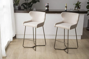 Cream Beige Luxe Azuki Luxury Velvet Diamond Bar Chair Stool Brass Bronze Leg 65 cm - Pebble & Leaf Homefurniture