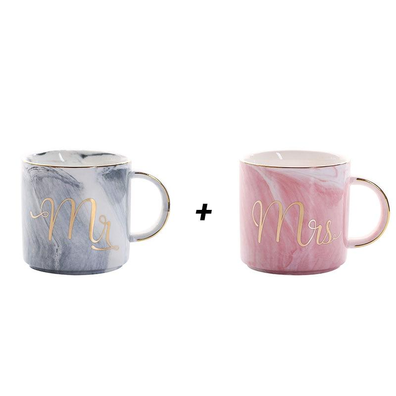 Mr + Mrs Handpainted Gold Monogram Natural Marble Coffee Mug Mr and Mrs - Pebble & Leaf Home