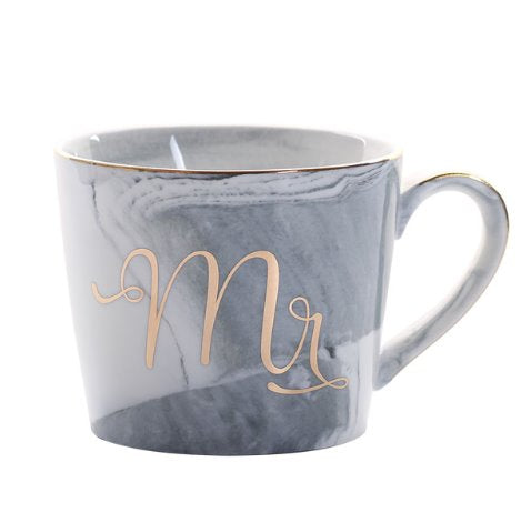 Slant Grey Gold Mr Luxury Mr & Mrs Pink Blue Grey White Marbled Gold Coffee Tea Cup - Pebble & Leaf HomeLuxury