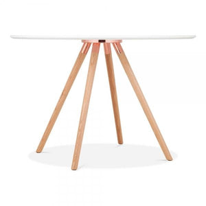 Solid Light Natural Oak Wood and Copper Mode Icon C1 White Copper . Gold . Chrome . Black Metal Leg . Dark Wood . Oak Dining Table 110cm - Pebble & Leaf HomeFurniture