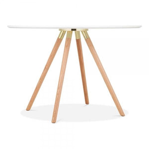 Solid Light Natural Oak Wood and Gold Mode Icon C1 White Copper . Gold . Chrome . Black Metal Leg . Dark Wood . Oak Dining Table 110cm - Pebble & Leaf HomeFurniture