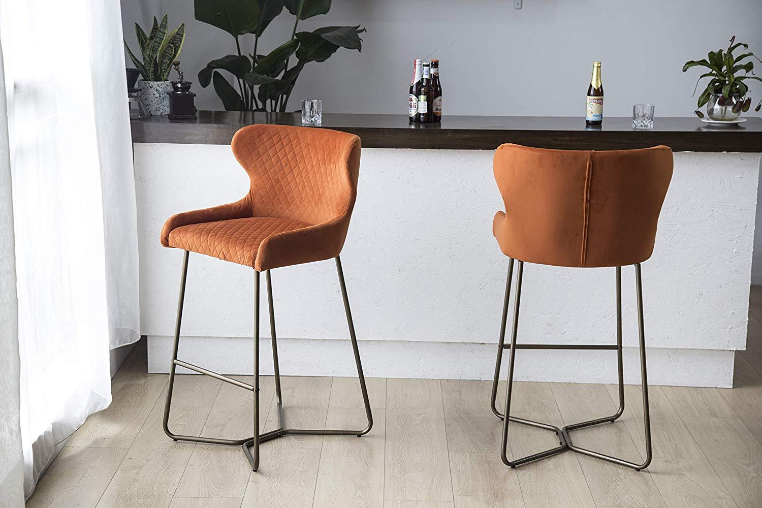 Burnt Orange Luxe Azuki Luxury Velvet Diamond Bar Chair Stool Brass Bronze Leg 65 cm - Pebble & Leaf Homefurniture
