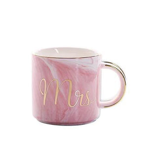 pink Mrs Handpainted Gold Monogram Natural Marble Coffee Mug Mr and Mrs - Pebble & Leaf Home
