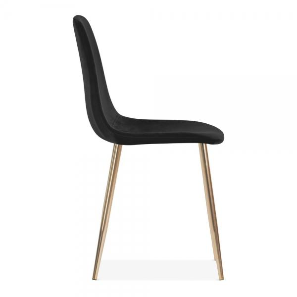 Black Luxe Diamond Velvet Dining Chair Copper - Gold Brass - Black Leg - Pebble & Leaf HomeFurniture