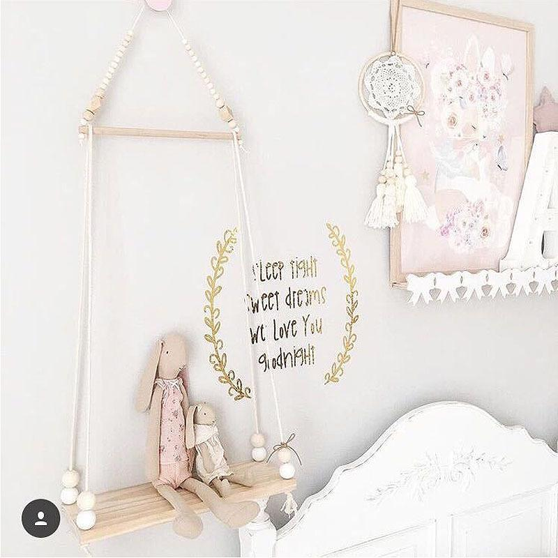 Free Offer! Nordic Scandinavian Wooden Wall Beaded Swing Shelf - Pebble & Leaf Home