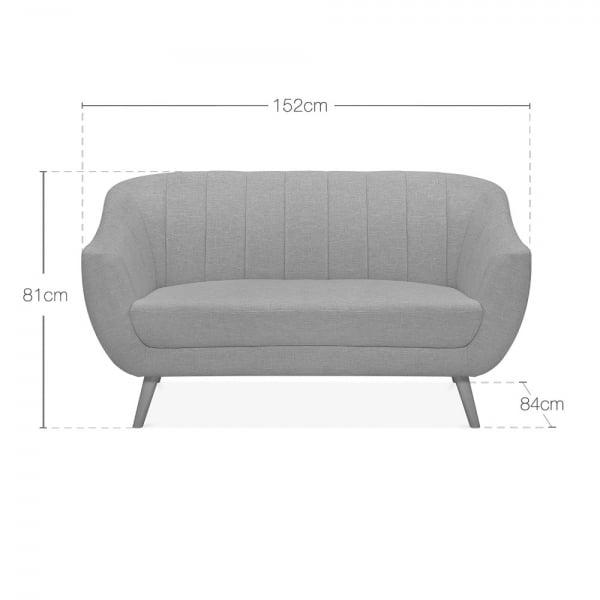 Luxe Art Deco Shell Curved Grey Velvet 2 Seater - 3 Seater Sofa