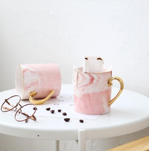 Pink White Gold / 2 x Pink White Gold Mr & Mrs Grey White Pink Gold Luxury Marbled Coffee Mug - Pebble & Leaf HomeLuxury