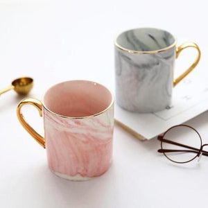 Grey White Gold / 2 x Cups (1 Grey + 1 Pink ) Mr & Mrs Grey White Pink Gold Luxury Marbled Coffee Mug - Pebble & Leaf HomeLuxury