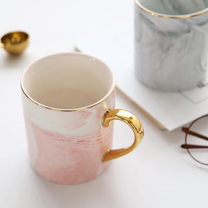 Plain marbled gold pink Handpainted Gold Monogram Natural Marble Coffee Mug Mr and Mrs - Pebble & Leaf Home