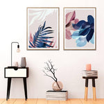 Palm Leaves Blush Pink Blue Botanical Canvas Wall Art - Pebble & Leaf HomeArt