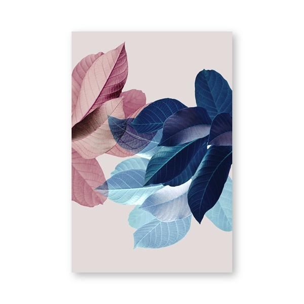 PH807 / 13x18 cm No Frame Palm Leaves Blush Pink Blue Botanical Canvas Wall Art - Pebble & Leaf HomeArt
