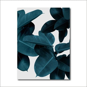 FBH049 / 13x18 cm No Frame Cuadros Leaf Botanical Pink Teal Green Blue Floral Abstract Canvas Print Wall Art - Pebble & Leaf HomeFurniture