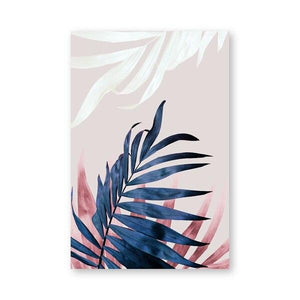 PH805 / 13x18 cm No Frame Palm Leaves Blush Pink Blue Botanical Canvas Wall Art - Pebble & Leaf HomeArt