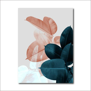 FBH050 / 13x18 cm No Frame Cuadros Leaf Botanical Pink Teal Green Blue Floral Abstract Canvas Print Wall Art - Pebble & Leaf HomeFurniture