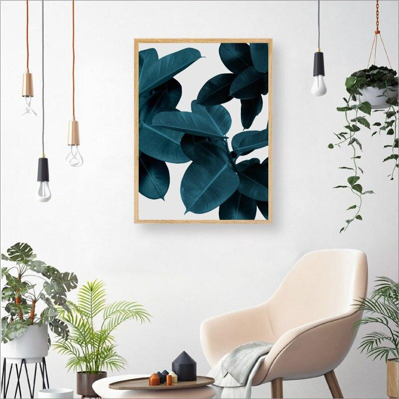 Cuadros Leaf Botanical Pink Teal Green Blue Floral Abstract Canvas Print Wall Art - Pebble & Leaf HomeFurniture