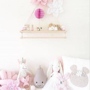 Hanging Wooden Swing Shelf with Clothes Rail + FREE POM POM OFFER!!!! - Pebble & Leaf HomeStorage