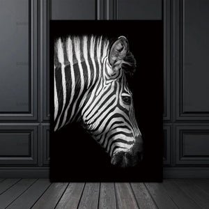 60x90cm / Zebra Side View Monochrome Animal Collection - Pebble & Leaf HomeArt