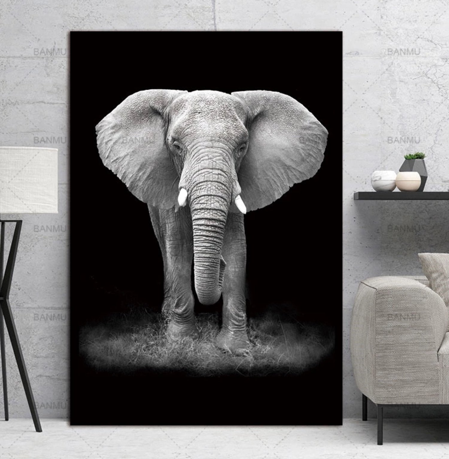 30x40cm / Elephant Monochrome Animal Collection - Pebble & Leaf HomeArt