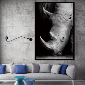 40x50cm / Rhino Monochrome Animal Collection - Pebble & Leaf HomeArt