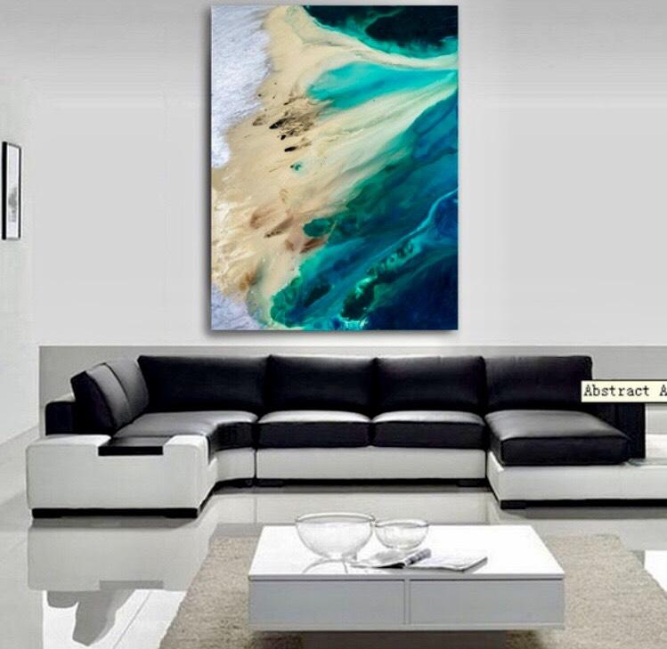 Teal Blue Turquoise Sea Green and Sand Abstract Beach Wave Wall Art Canvas - Pebble & Leaf Ltd