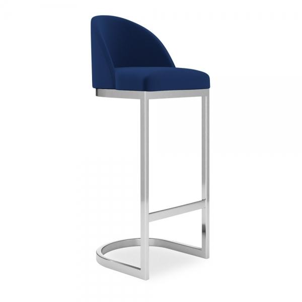 Classic or Midnight Blue Velvet Luxe Curve Cantilever High Back - Copper - Brass - Black - Chrome Leg Bar Stool 65cm 75 cm