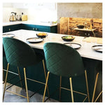 Dark Emerald Green Luxe Diamond Velvet Bar Stool 65cm - 75cm Gold Brass - Copper - Black Leg