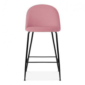 Blossom Millennial Pink Luxe Diamond Velvet Bar Stool Chair Black Metal Leg - Pebble & Leaf HomeFurniture