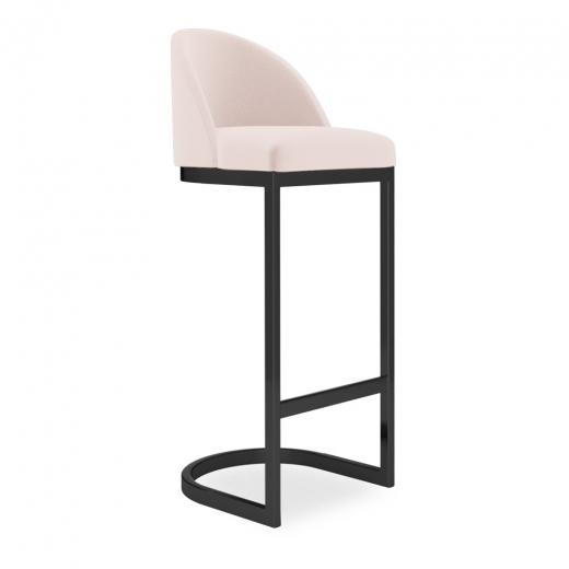 commercial use bar stool, free velvet protection offer, free UK delivery, pale blush light pink,  black leg, 2020 best bar stool chair luxury minimalist kitchen counter top height 65cm 75cm