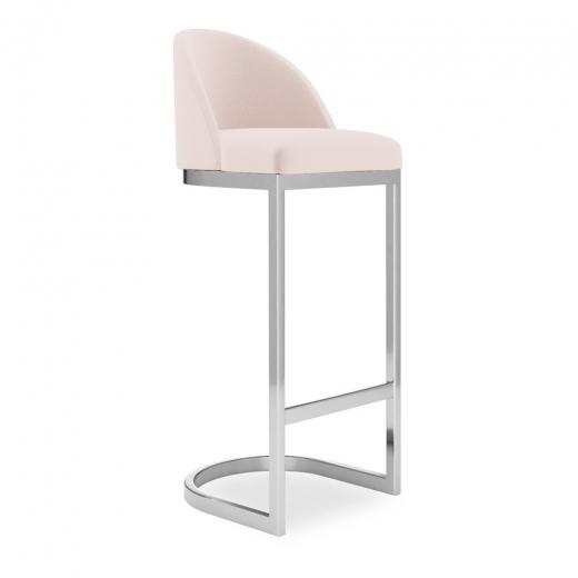 commercial use bar stool, free velvet protection offer, free UK delivery, pale blush light pink, silver chrome polished leg, 2020 best bar stool chair luxury minimalist kitchen counter top height 65cm 75cm