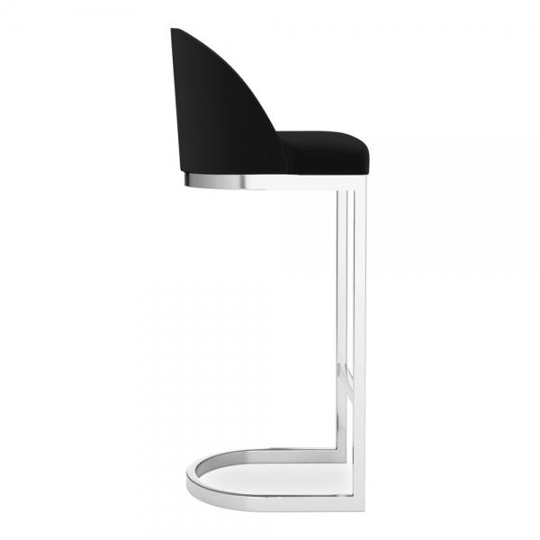 Luxe Curve Cantilever Velvet High Back Copper - Brass - Black Leg Bar Stool 75 cm