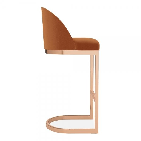 Burnt Orange Tan Luxe Velvet Curve Cantilever High Back Copper - Brass - Black Leg Bar Stool 65 - 75 cm