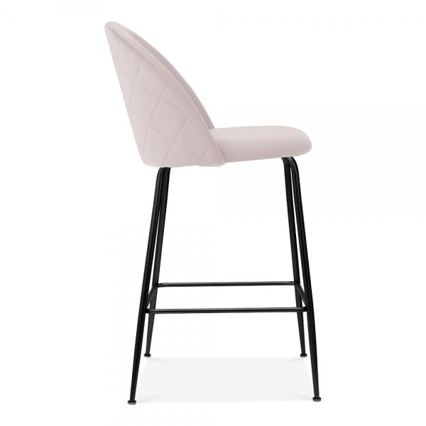 Luxe Diamond Velvet Pale Light Blush Pink Bar Stool 65cm - 75cm Black Metal Leg