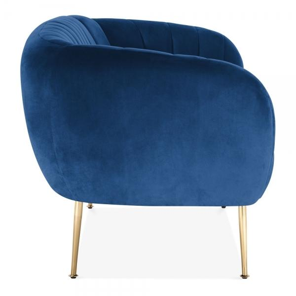 Blue Luxe Curve Modern Art Deco Style Velvet 2 Seater Sofa + Free Offer! - Pebble & Leaf HomeFurniture