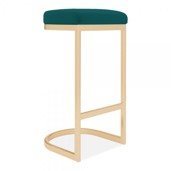 commercial use bar stool, free velvet protection offer, free UK delivery, teal green blue, gold brass leg, 2020 best bar stool chair luxury minimalist kitchen under counter height 65cm 75cm