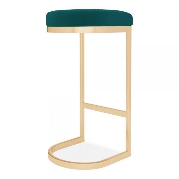 Luxe Curve Velvet Under Counter Bar Stool Copper - Brass - Black Leg 75 cm - Pebble & Leaf HomeFurniture