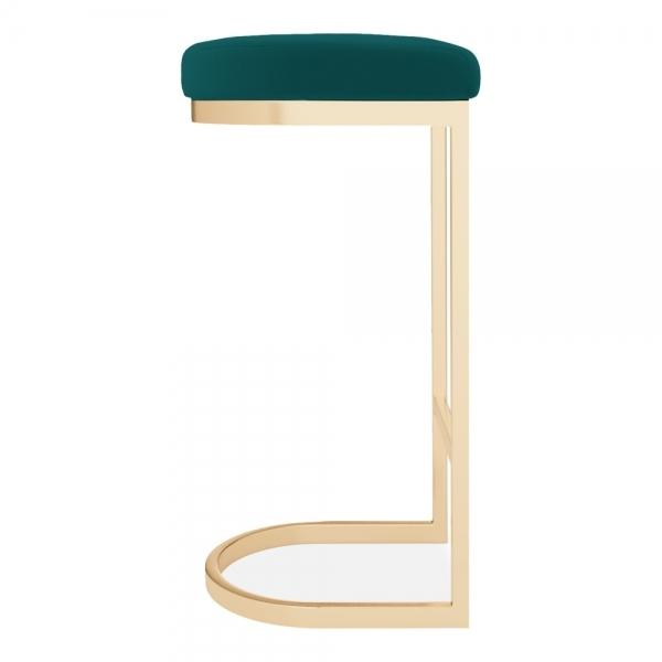 Teal / Brass / 75 cm Luxe Curve Velvet Under Counter Bar Stool Copper - Brass - Black Leg 75 cm - Pebble & Leaf HomeFurniture