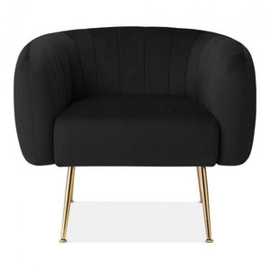 Black / Gold Grey Luxe Curve Modern Art Deco Style Velvet Armchair - Pebble & Leaf HomeFurniture