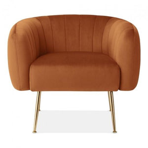 Burnt Orange / Gold Grey Luxe Curve Modern Art Deco Style Velvet Armchair - Pebble & Leaf HomeFurniture