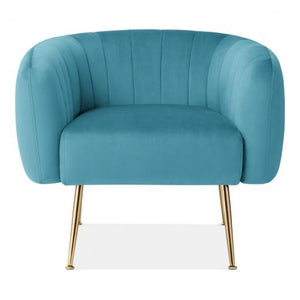 Sky Blue / Gold Grey Luxe Curve Modern Art Deco Style Velvet Armchair - Pebble & Leaf HomeFurniture